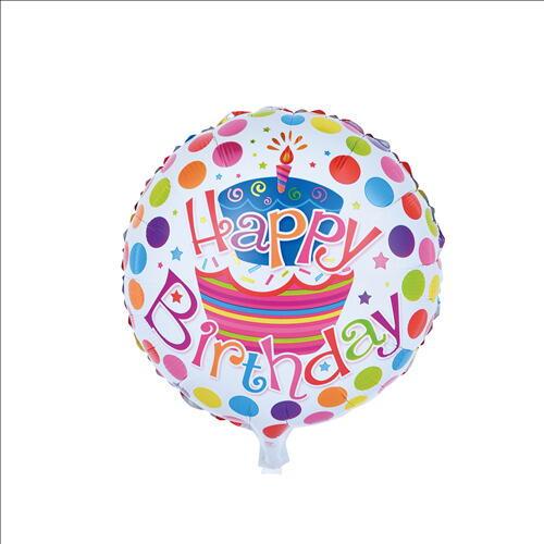 "Image of   Ballon ""Happy Birthday"" 45 Cm. Flerfarvet"