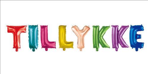 """Image of   Ballon """"Tillykke"""" 35 Cm. Flerfarvet"""