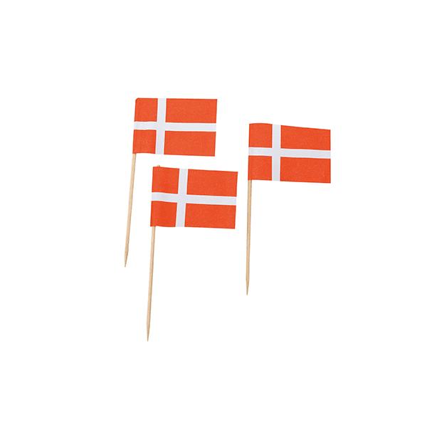 Image of   Danske Flag På Pind - 144 Stk.
