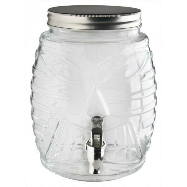 Image of   Drikke Dispenser Tiki Glas, Med Tryk Og Låg - 5,0l