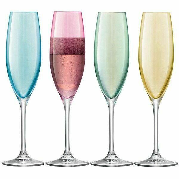 Håndmalet Champagneglas i 4 Vintage Farver