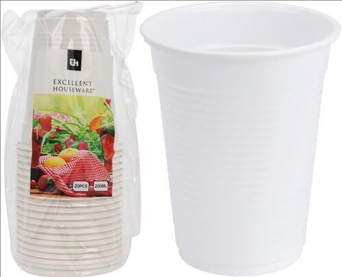 Drikkebægere 20 Cl - Hvid Plast - 20 Stk