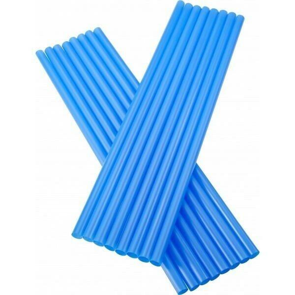 Image of   sugerør 8x255mm (*uden knæk) blå 250 stk