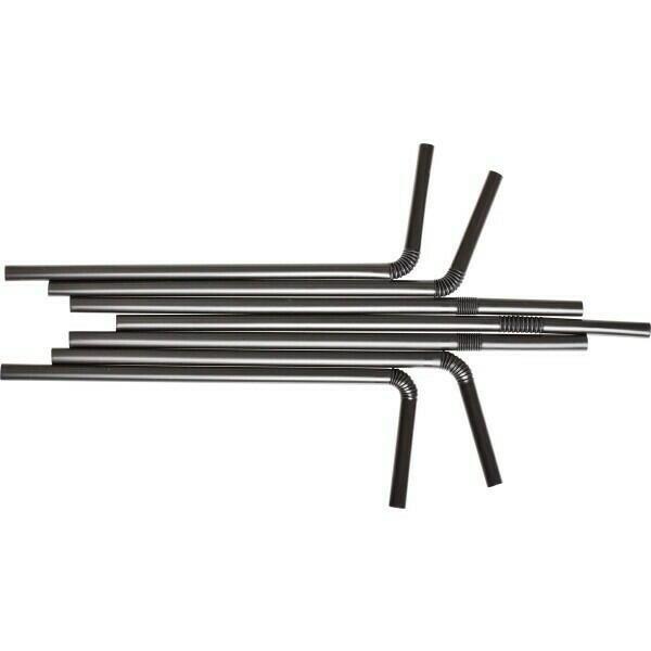 Image of   sugerør 8x250mm (*med knæk) Sorte 100 stk