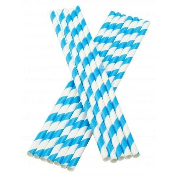 Image of   Sugerør 6x195mm (*uden knæk) blå stribede 100 stk