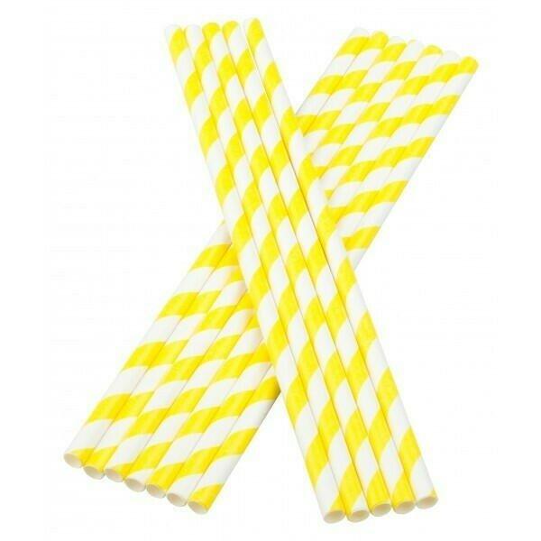 Image of   Sugerør 6x195mm (*uden knæk) gule stribede 100 stk
