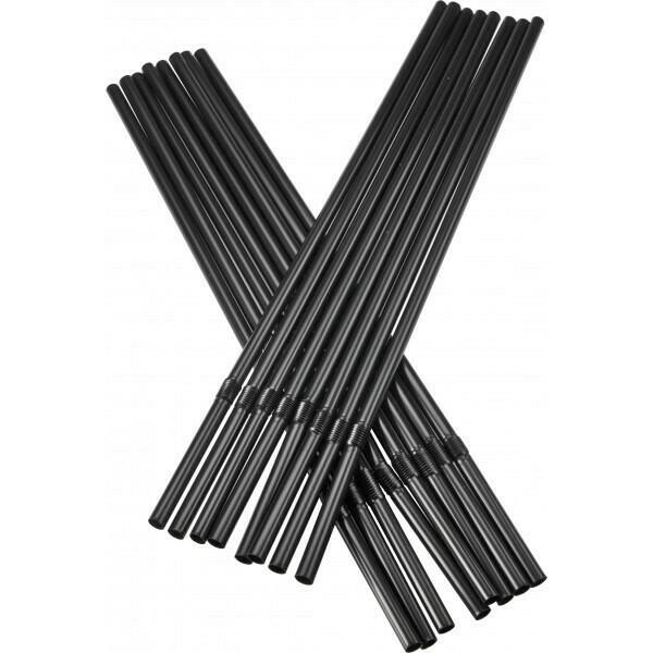 Image of   Sugerør 5x240mm (*med knæk) sorte 250 stk