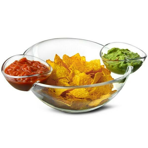 Image of   Chip og Dip Bowl med 2 Side Dip Skåle