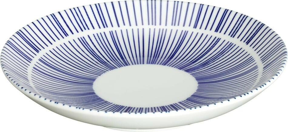 Image of   Porto tallerken flad hvid/blå ø15 cm
