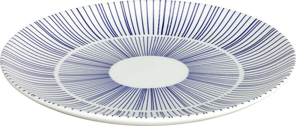 Image of   Porto tallerken flad hvid/blå ø20,5 cm