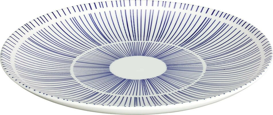 Image of   Porto tallerken flad hvid/blå ø26 cm