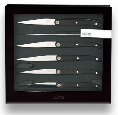 """Image of   Laguiole Evolution """"SENS"""" Sæt med 6 knive i mørkt træ."""
