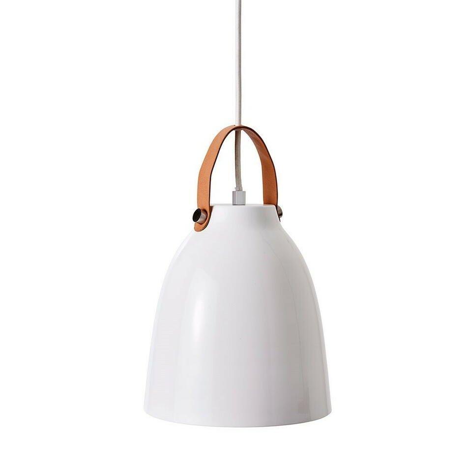 Image of   COPENHAGEN Pendel lampe hvid/læder D26.5