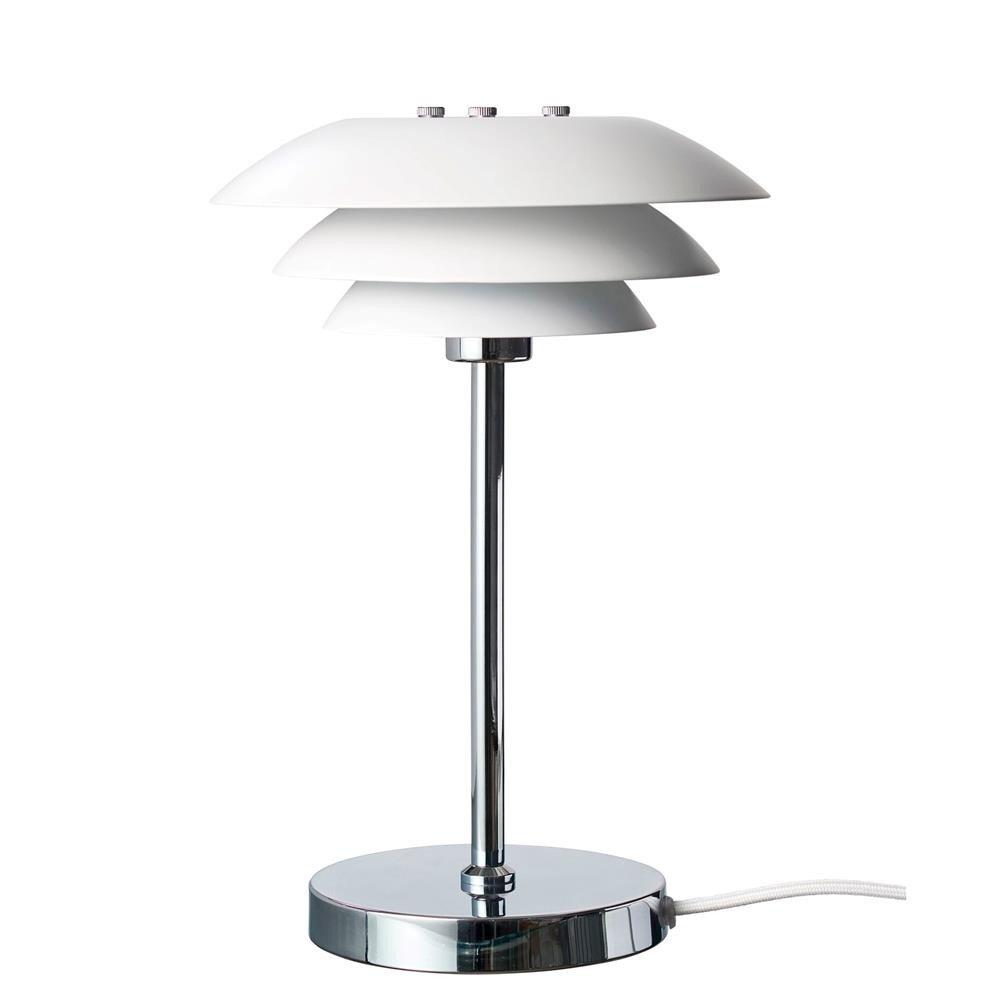 Image of   DL20 bordlampe Krom Fod i Mat Hvid H30 D20