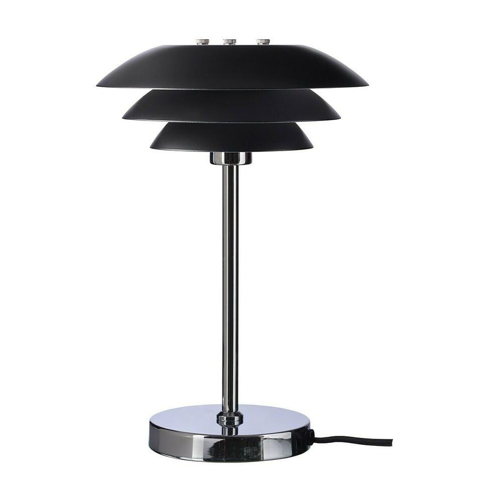 Image of   DL20 bordlampe Krom Fod i Mat Sort H30 D20