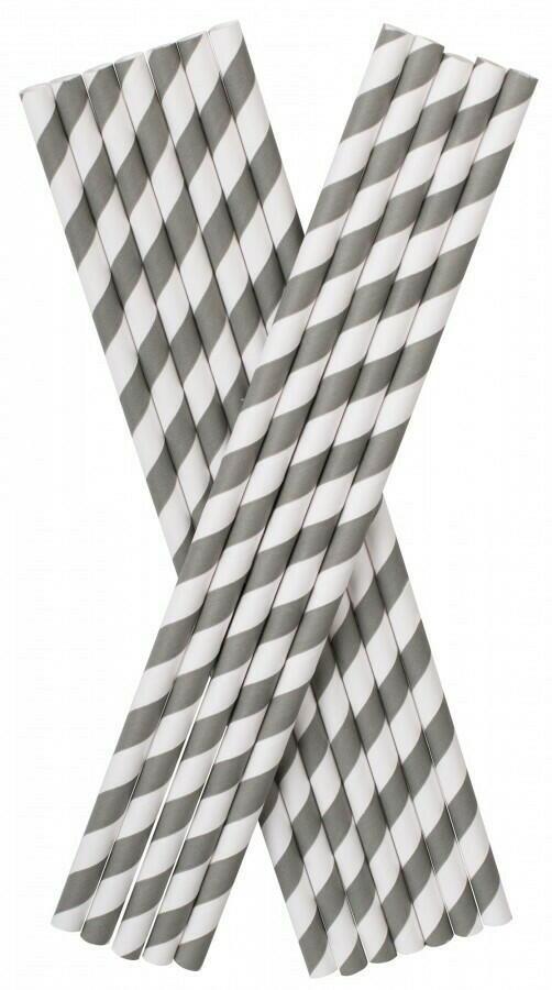 Image of   Sugerør Papir (8x255mm) Grå/hvid Stribet