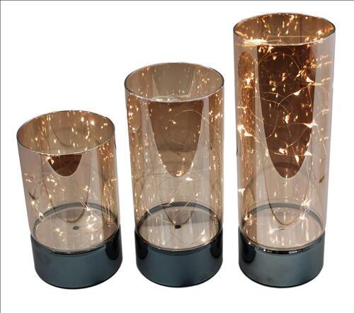 Image of   GLASSTAGER GULD LED 3 STK STR. 15 + 20 + 25 CM