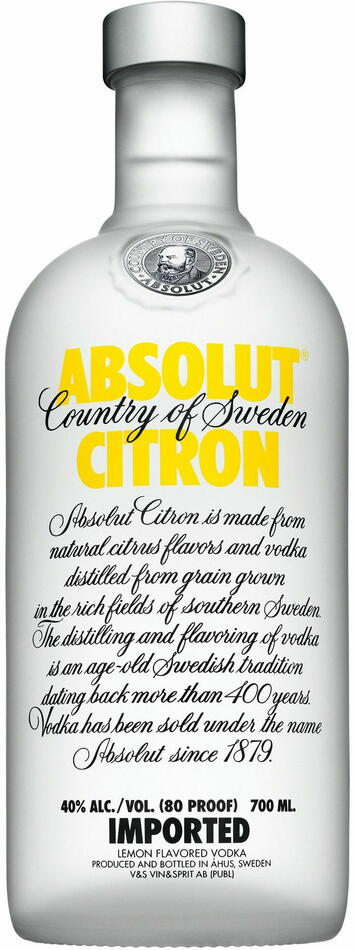 Image of   Absolut Vodka Citron Fl 70