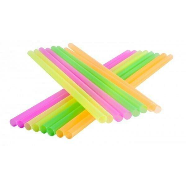 Image of   Sugerør 8x255mm (*Uden Knæk) - Neon Mix - 250 Stk