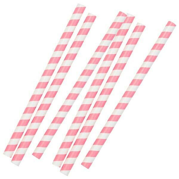 Image of   Pink Stribede Sugrør 20cm 10 Stk.