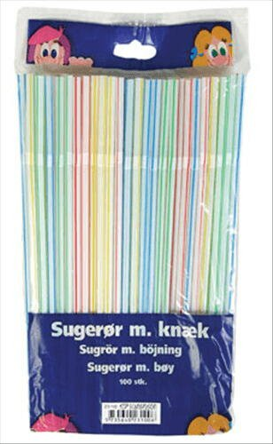 Image of   Sugerør M/knæk Stribet Ø 5 Mm Ps. Á 100 Stk